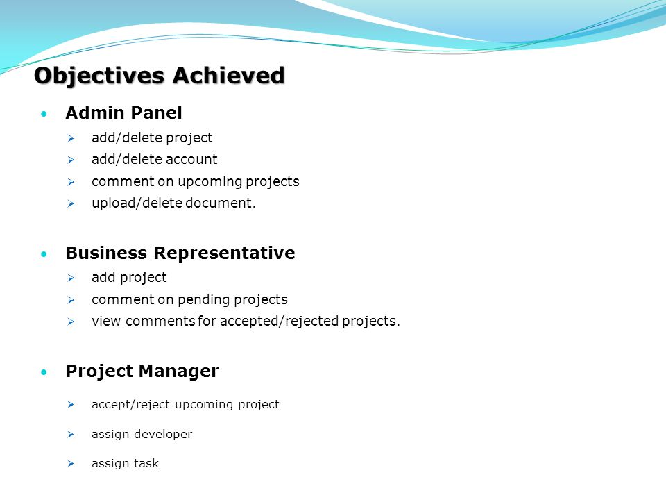 Objectives Achieved Admin Panel Business Representative