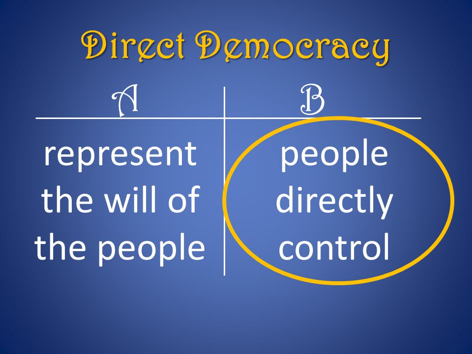 represent the will of the people people directly control