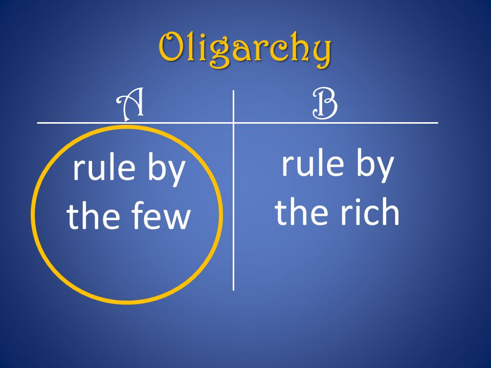 Oligarchy A B rule by the rich rule by the few