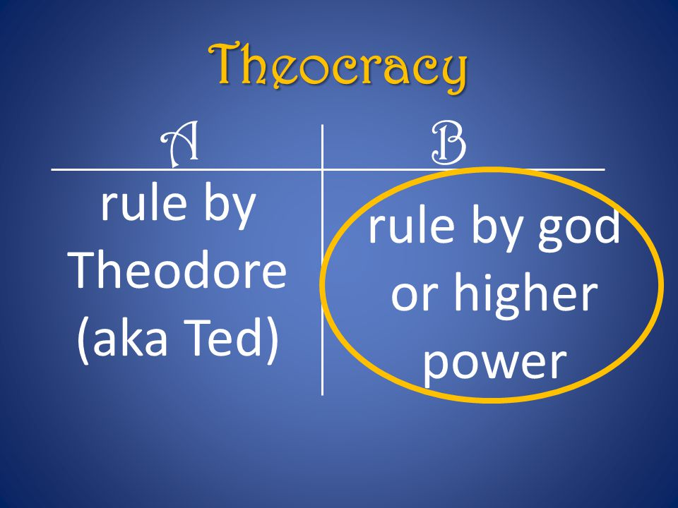 rule by Theodore (aka Ted) rule by god or higher power