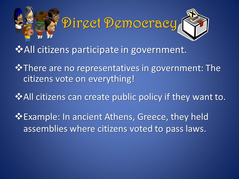 Direct Democracy All citizens participate in government.