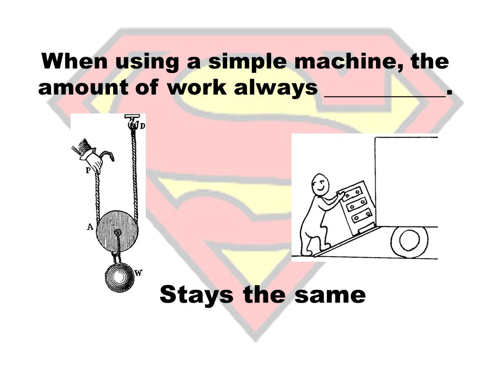 When using a simple machine, the amount of work always ___________.