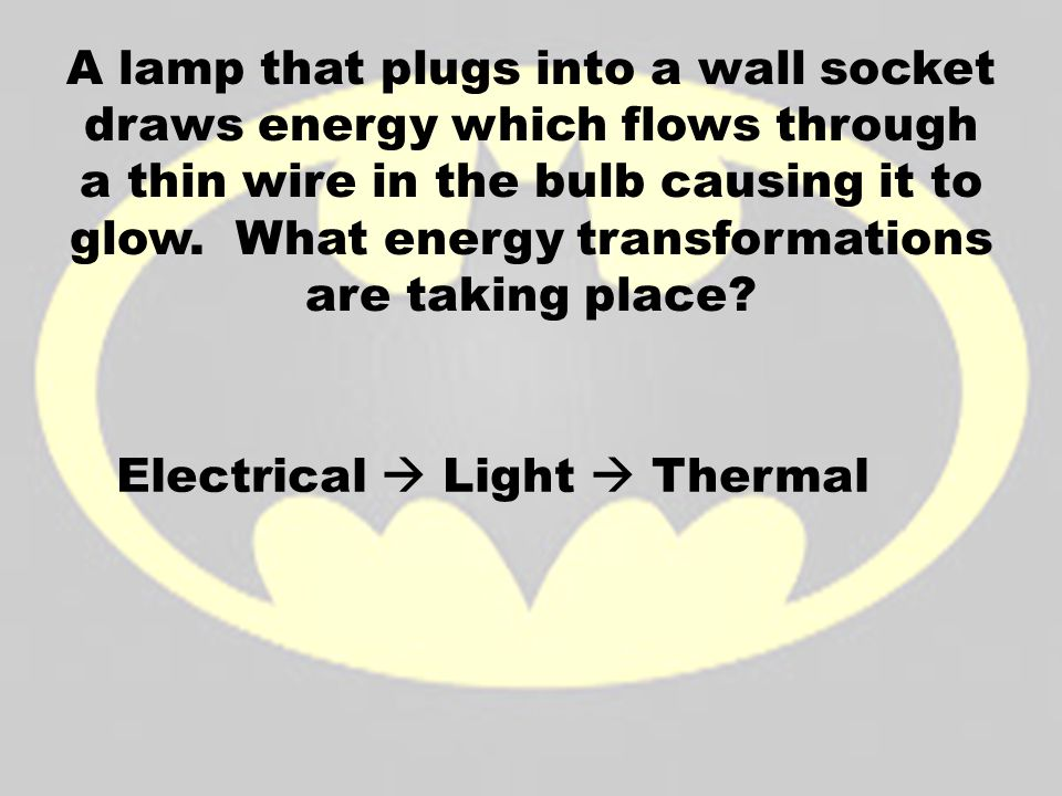 A lamp that plugs into a wall socket draws energy which flows through a thin wire in the bulb causing it to glow. What energy transformations are taking place