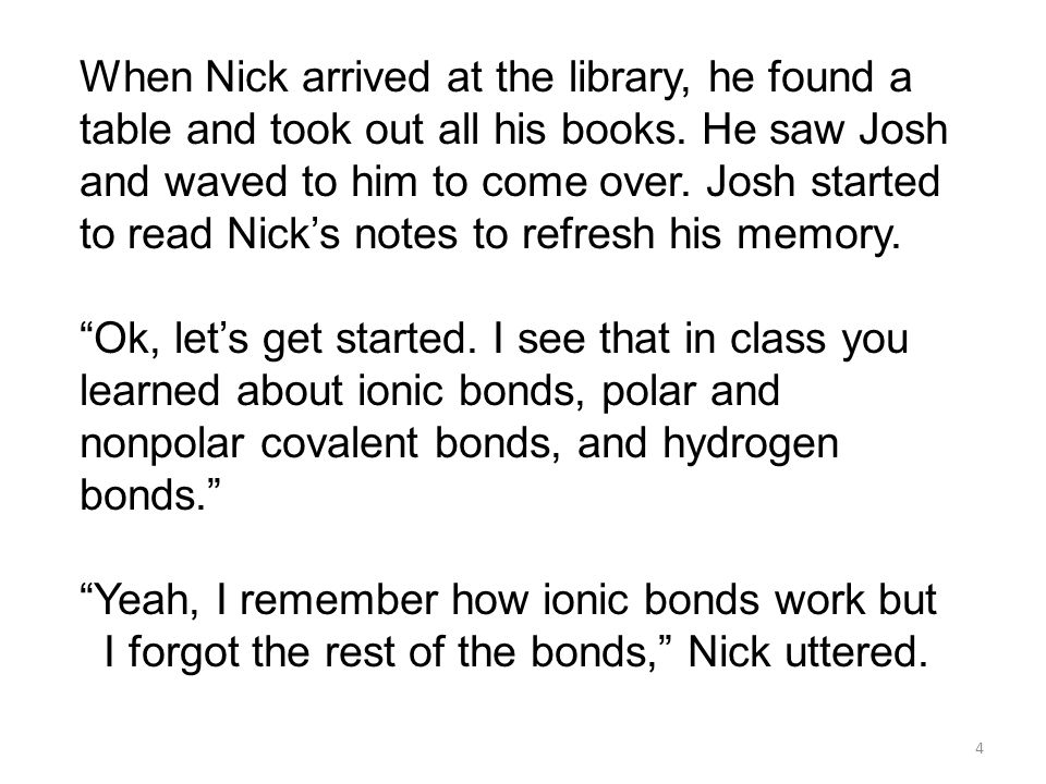 When Nick arrived at the library, he found a table and took out all his books. He saw Josh and waved to him to come over. Josh started to read Nick's notes to refresh his memory.