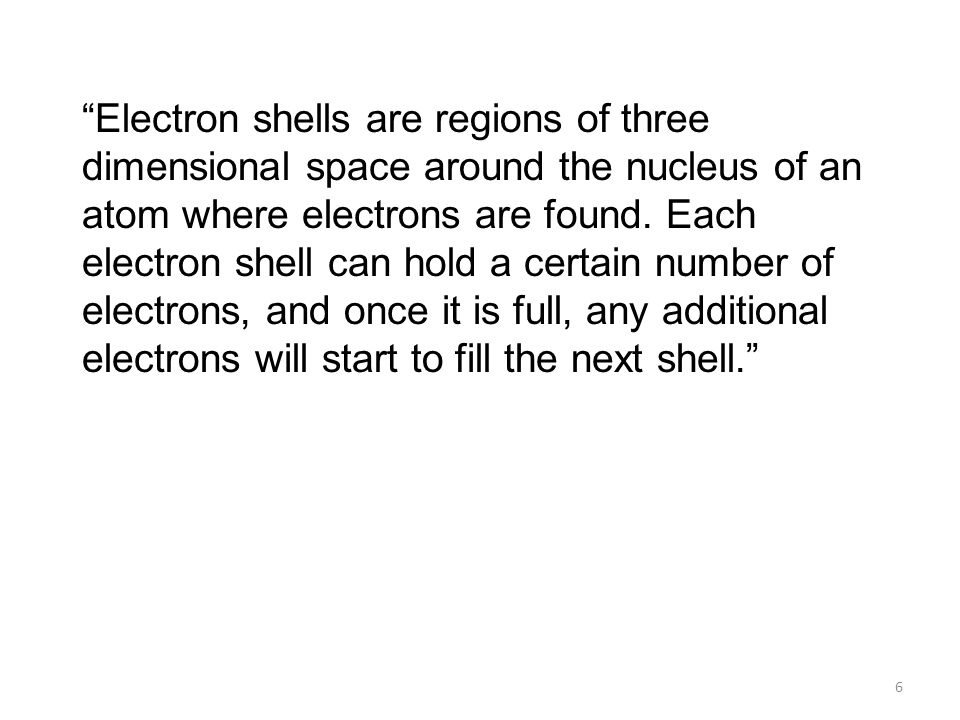 Electron shells are regions of three dimensional space around the nucleus of an atom where electrons are found.