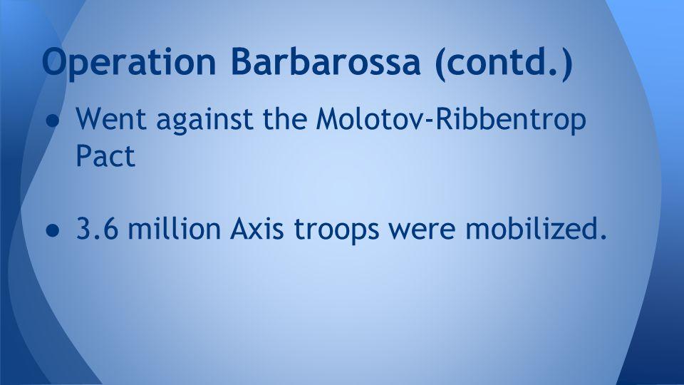 Operation Barbarossa (contd.)