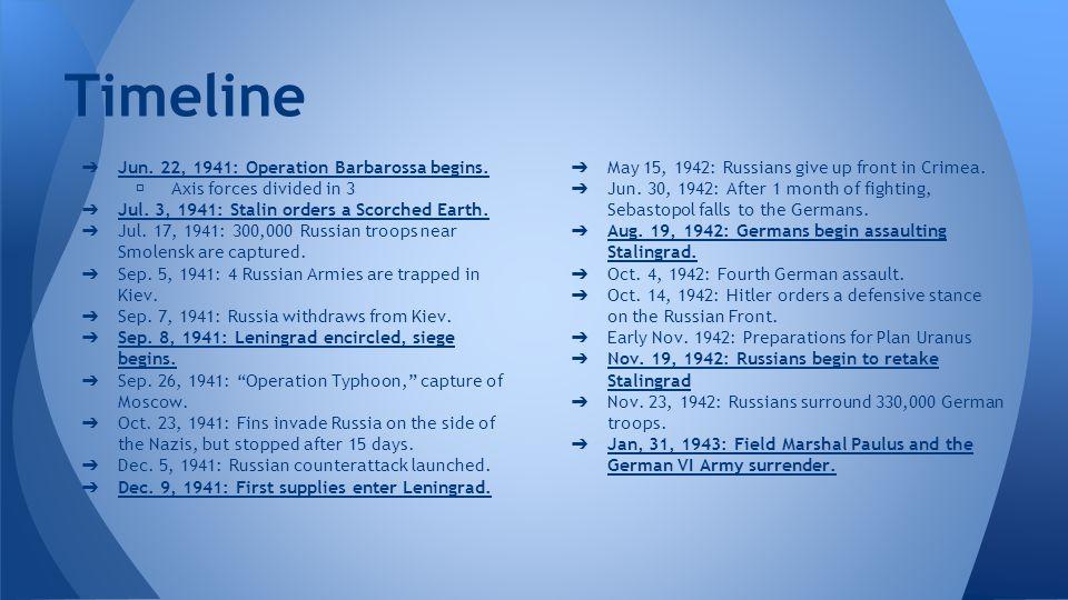 Timeline Jun. 22, 1941: Operation Barbarossa begins.