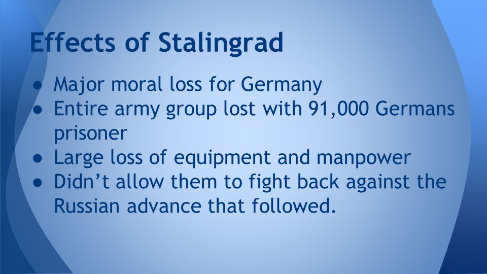 Effects of Stalingrad Major moral loss for Germany