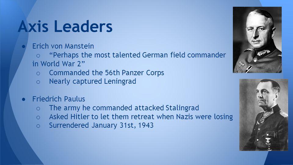 Axis Leaders Erich von Manstein