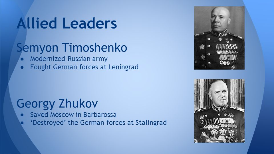 Allied Leaders Semyon Timoshenko Georgy Zhukov Modernized Russian army