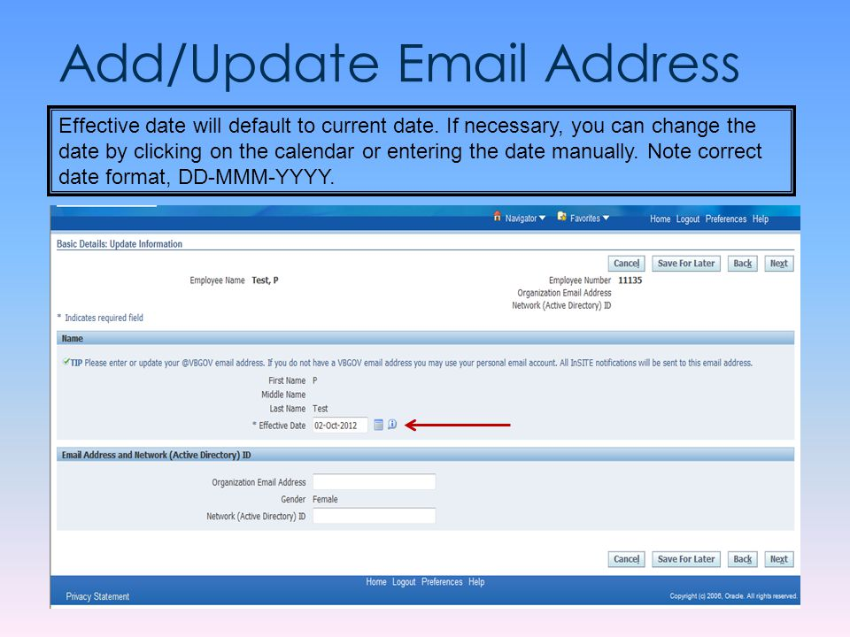 Add/Update Email Address