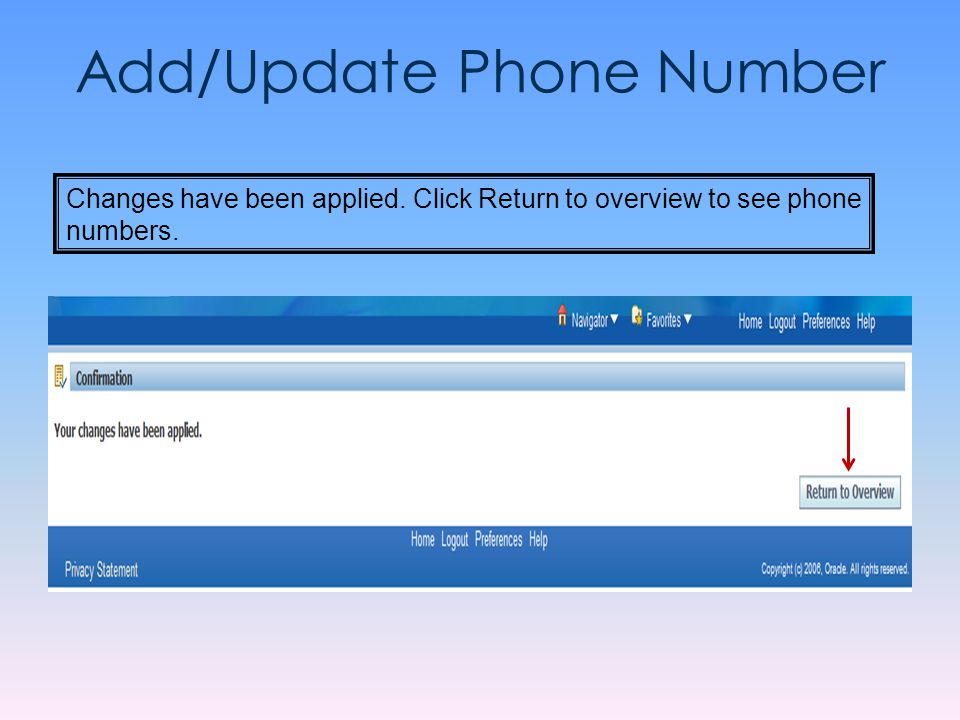Add/Update Phone Number