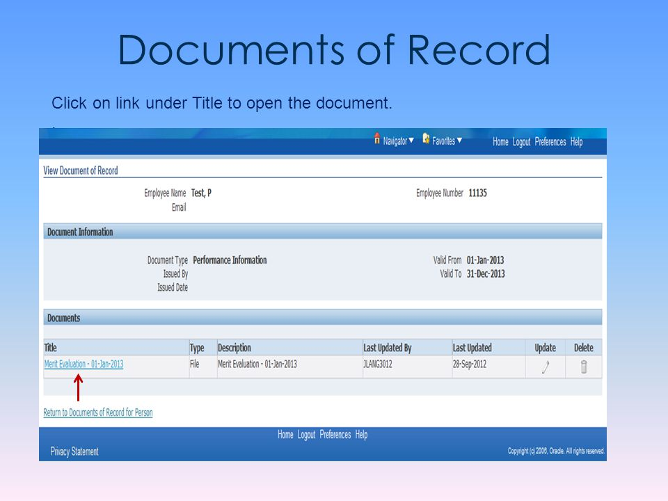 Documents of Record Click on link under Title to open the document. .