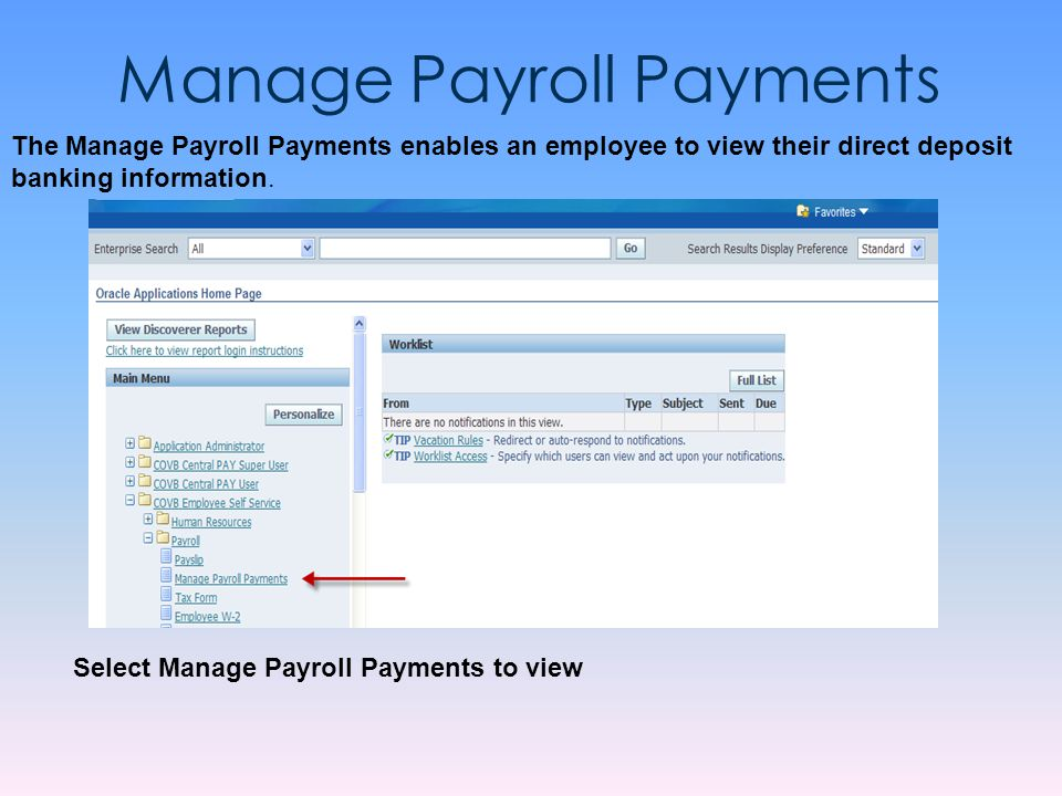 Manage Payroll Payments
