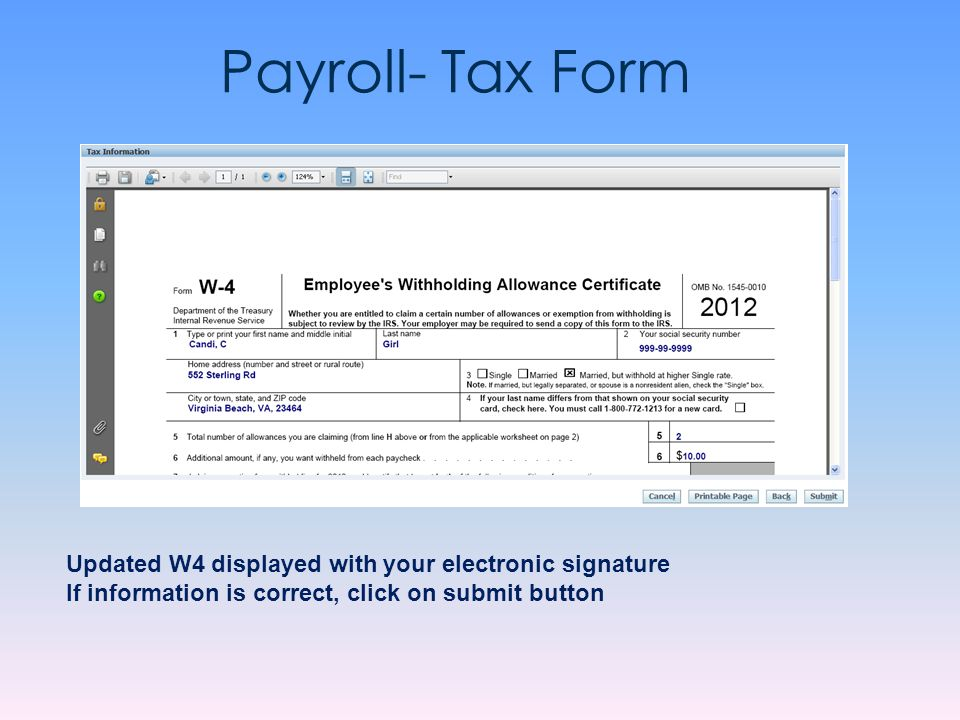 Payroll- Tax Form Updated W4 displayed with your electronic signature