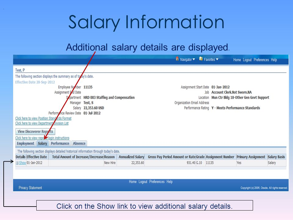 Salary Information Additional salary details are displayed.