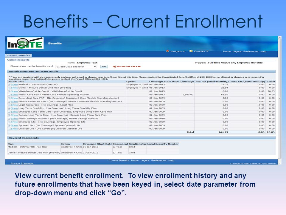 Benefits – Current Enrollment