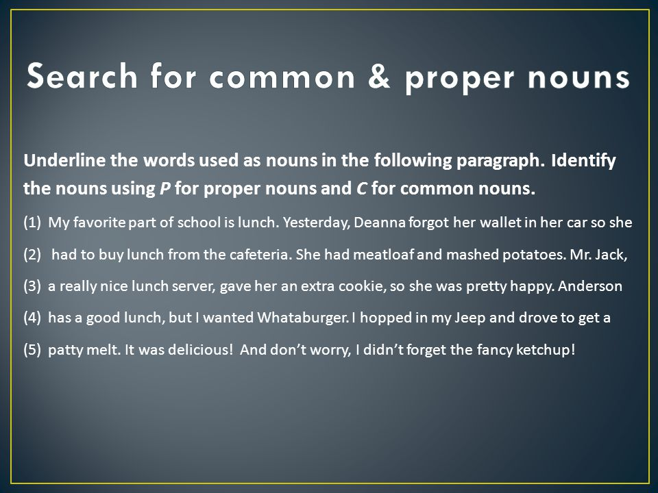 Search for common & proper nouns