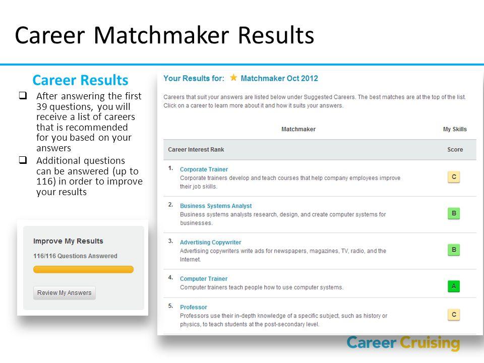 Career Matchmaker Results