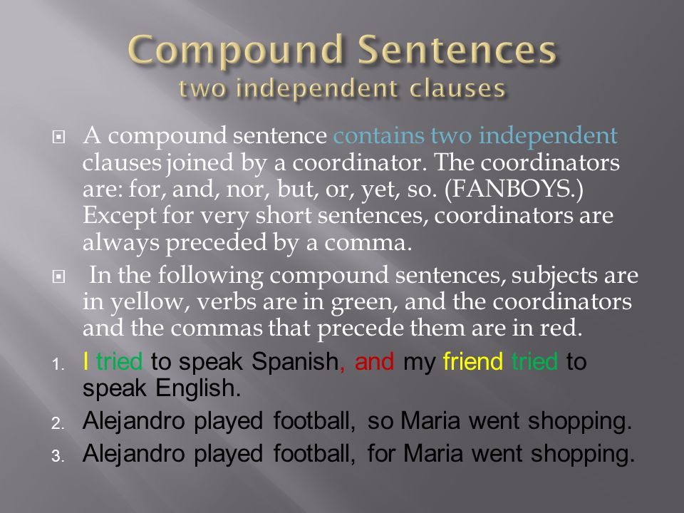 Compound Sentences two independent clauses