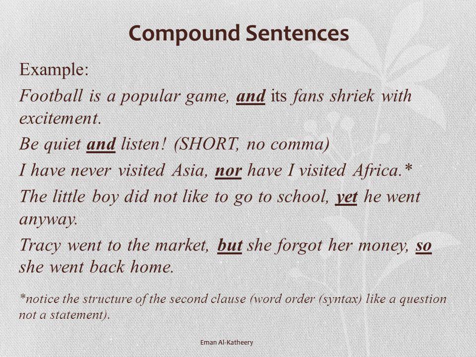 Compound Sentences Example: