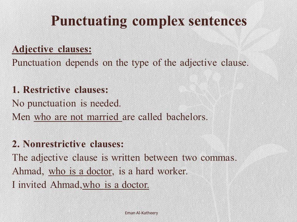Punctuating complex sentences