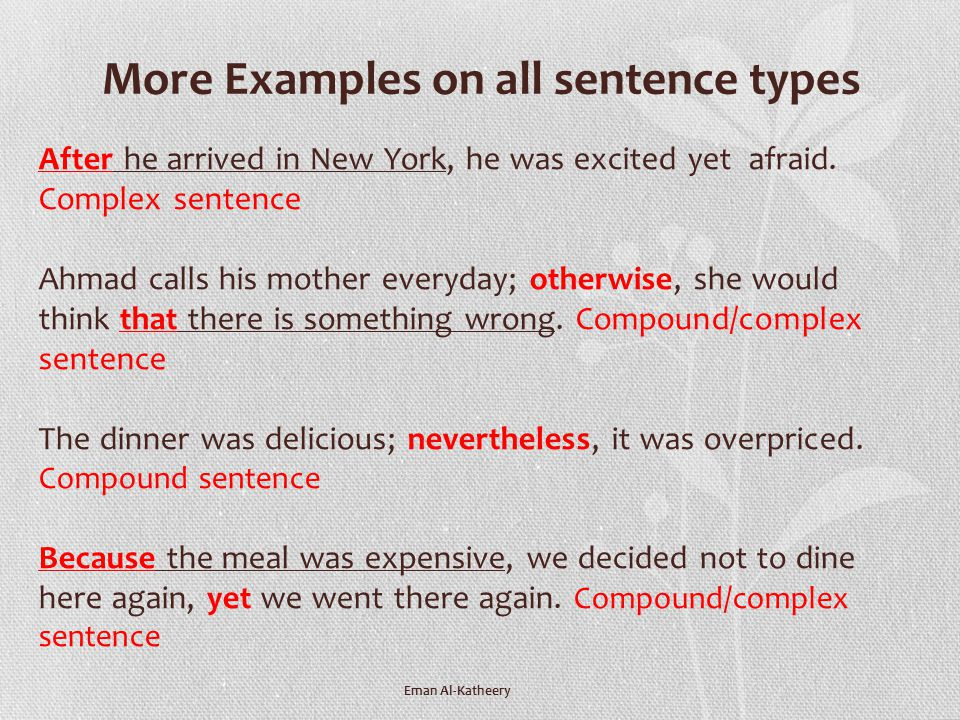 More Examples on all sentence types