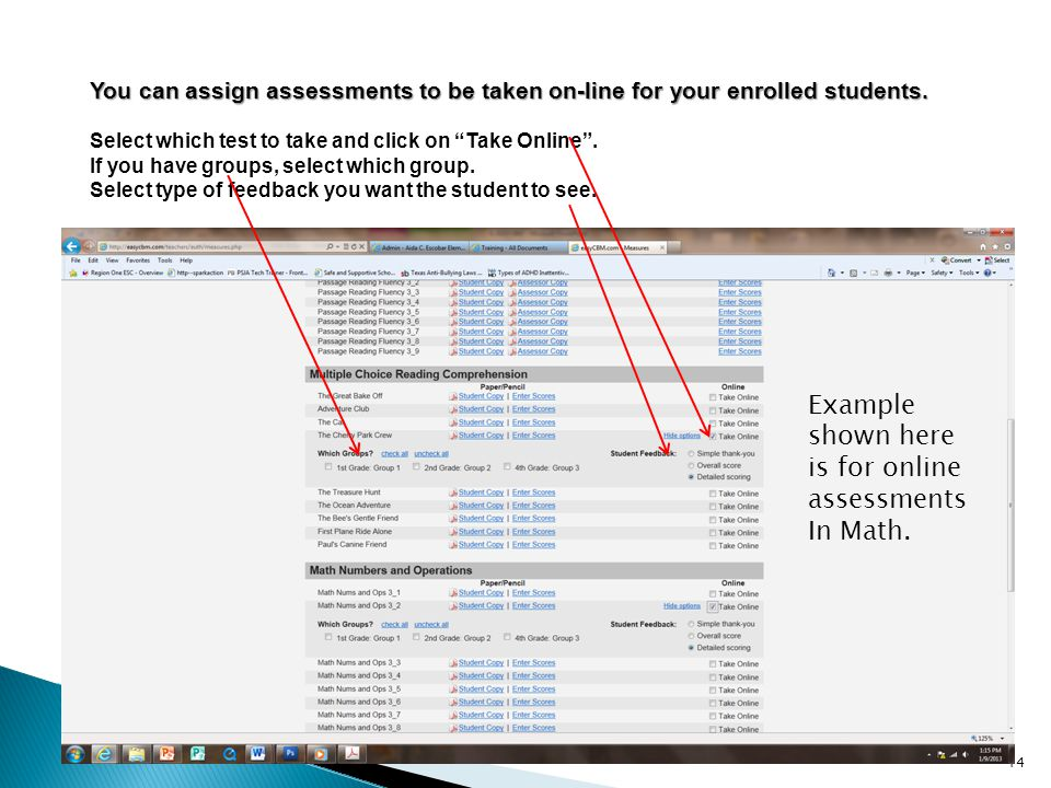 Example shown here is for online assessments