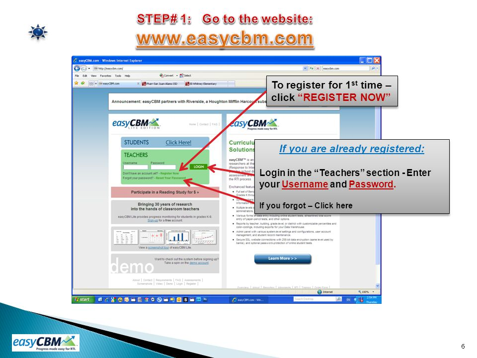 STEP# 1: Go to the website: www.easycbm.com
