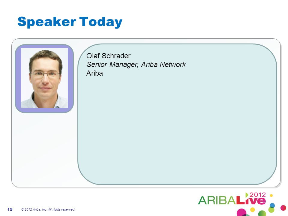 Speaker Today Olaf Schrader Senior Manager, Ariba Network Ariba