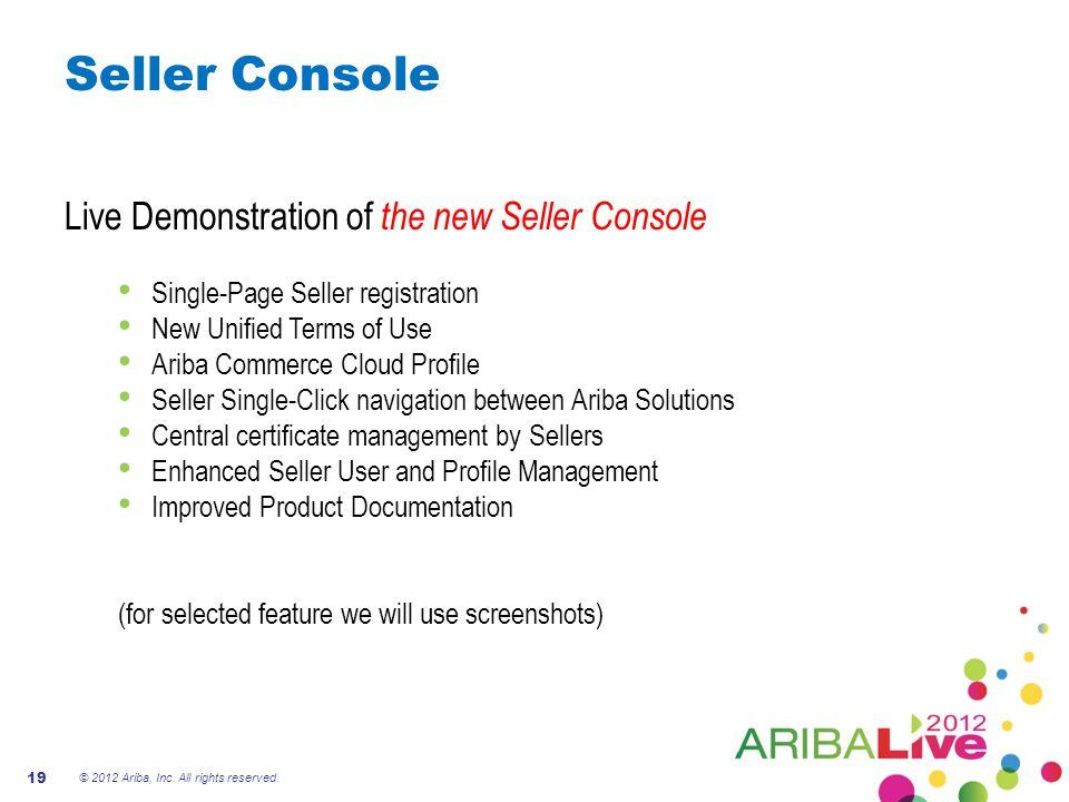 Seller Console Live Demonstration of the new Seller Console