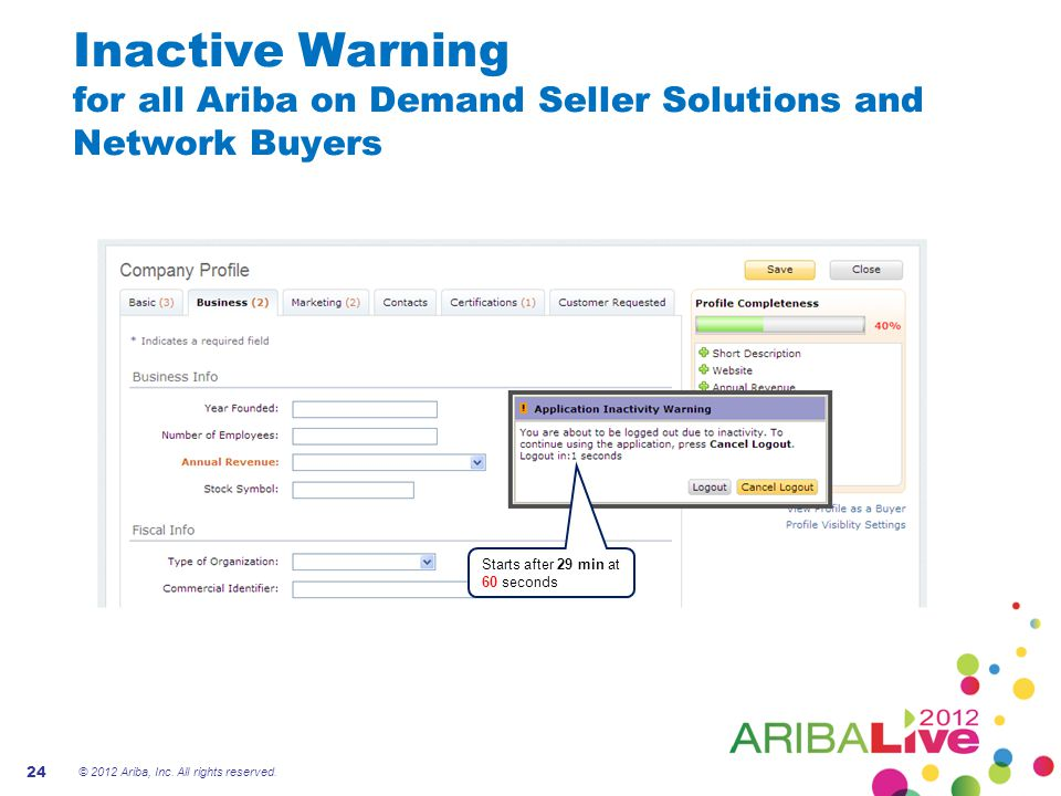 Inactive Warning for all Ariba on Demand Seller Solutions and Network Buyers