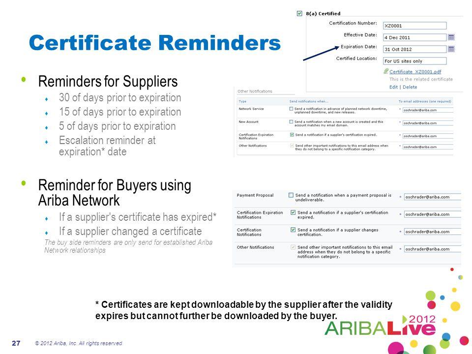 Certificate Reminders