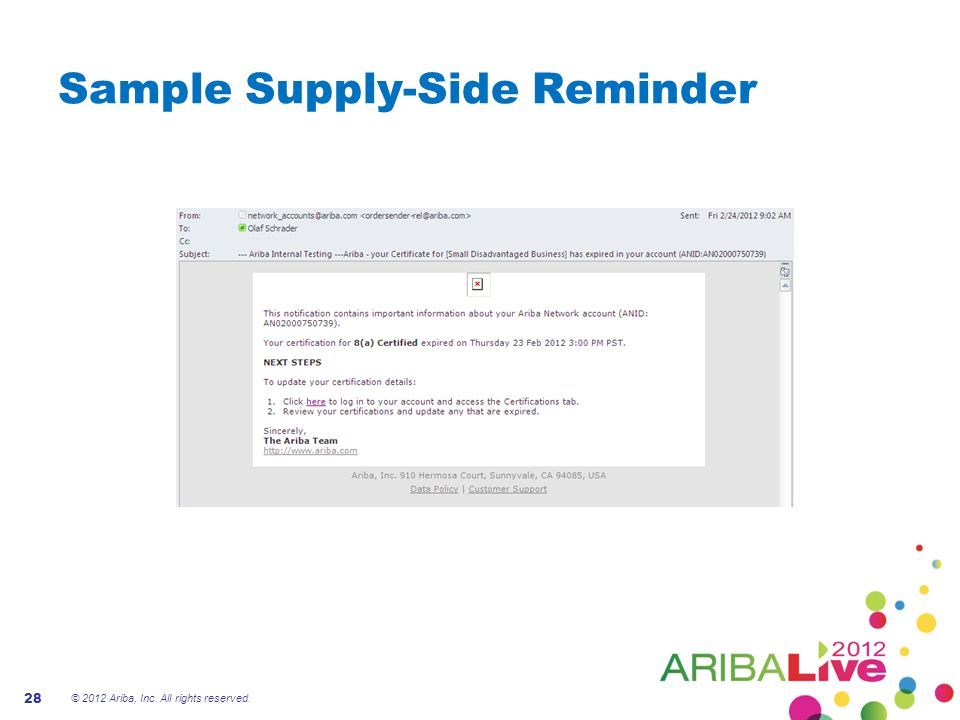 Sample Supply-Side Reminder