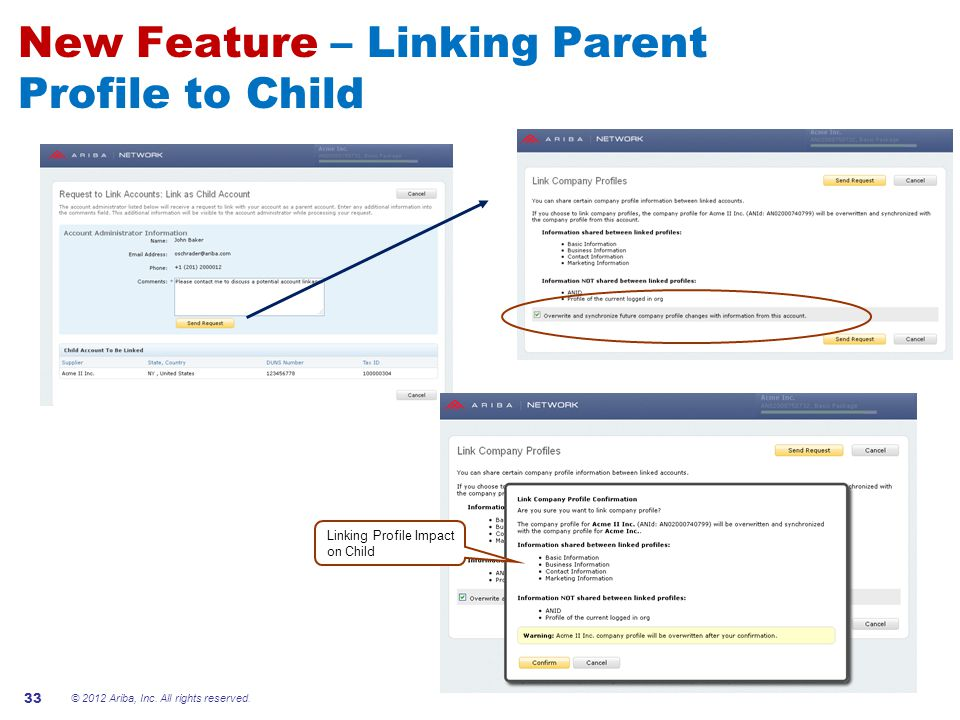 New Feature – Linking Parent Profile to Child