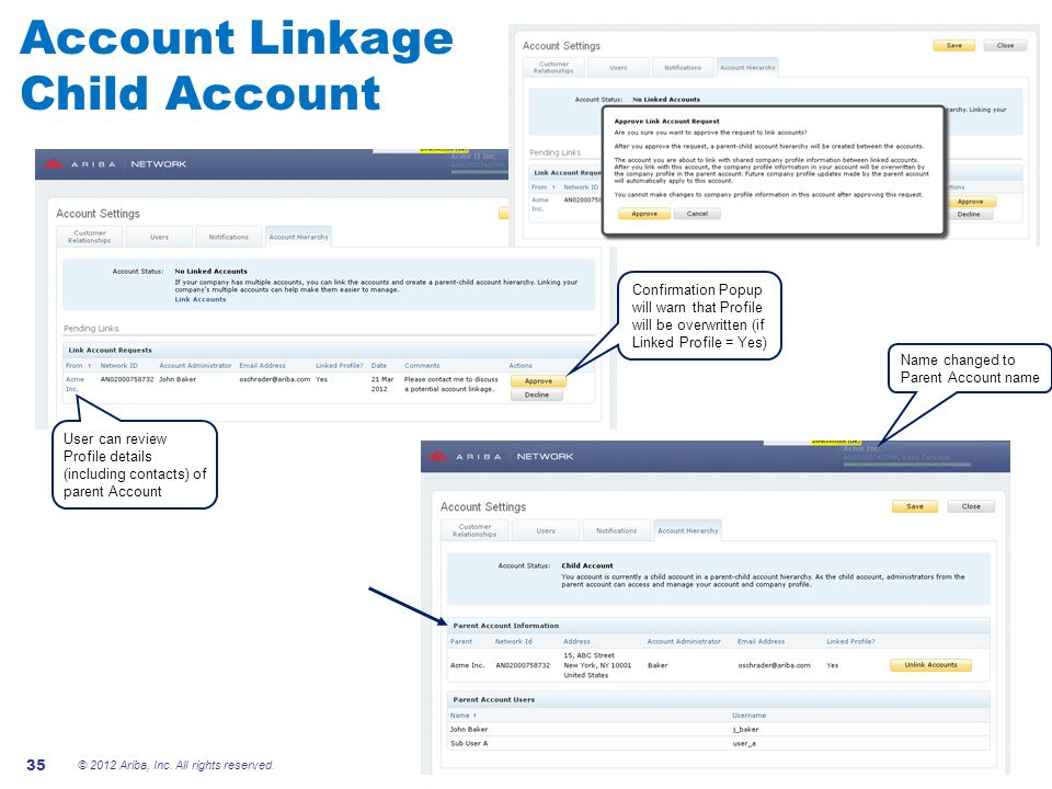 Account Linkage Child Account