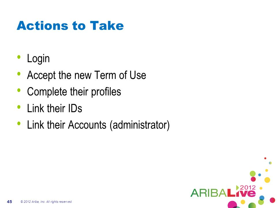 Actions to Take Login Accept the new Term of Use