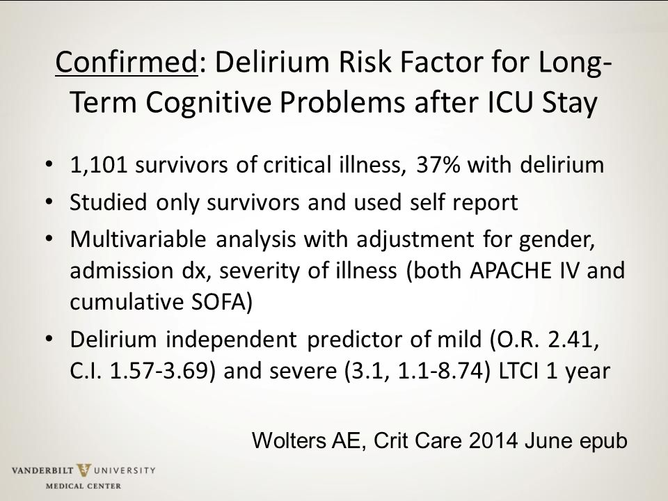 Confirmed: Delirium Risk Factor for Long-Term Cognitive Problems after ICU Stay