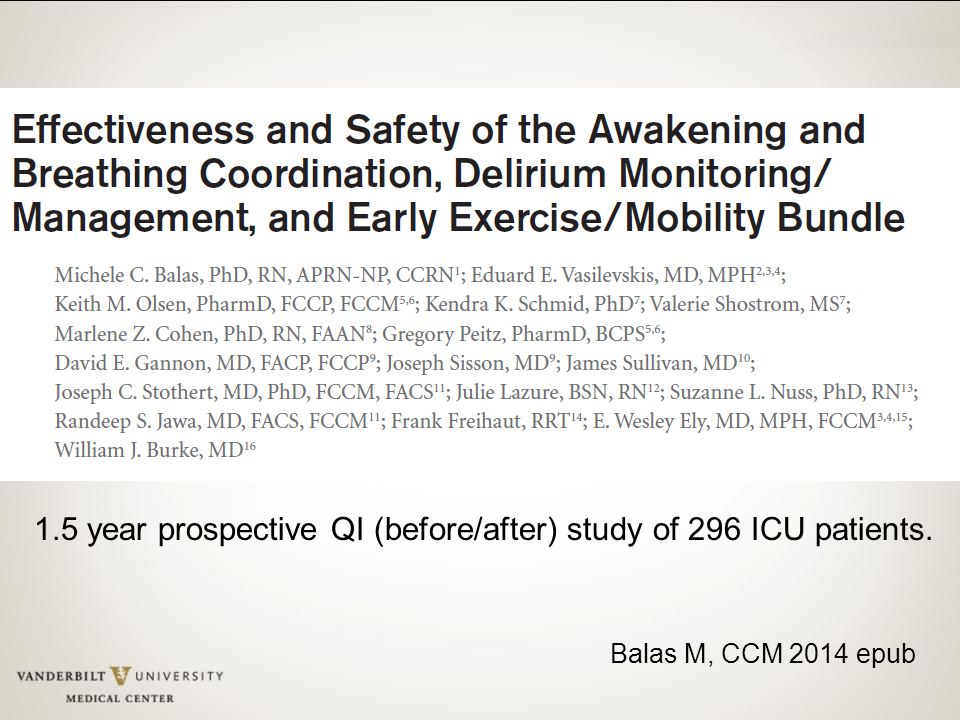 1.5 year prospective QI (before/after) study of 296 ICU patients.