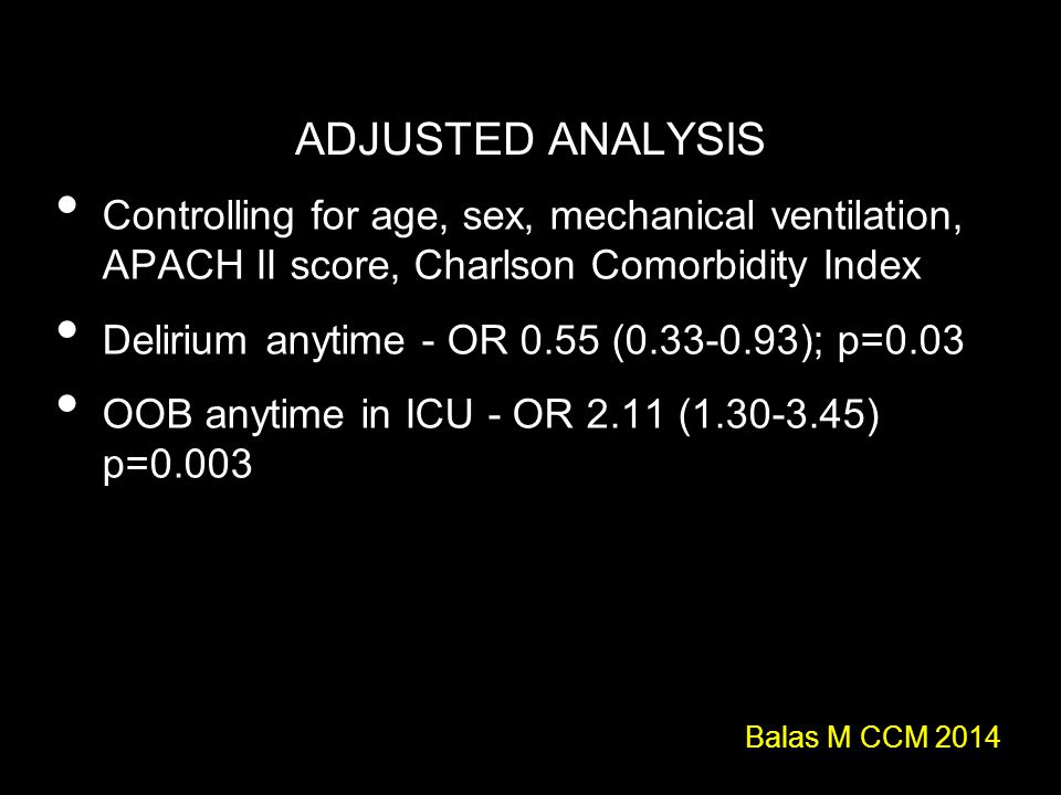 ADJUSTED ANALYSIS Controlling for age, sex, mechanical ventilation, APACH II score, Charlson Comorbidity Index.