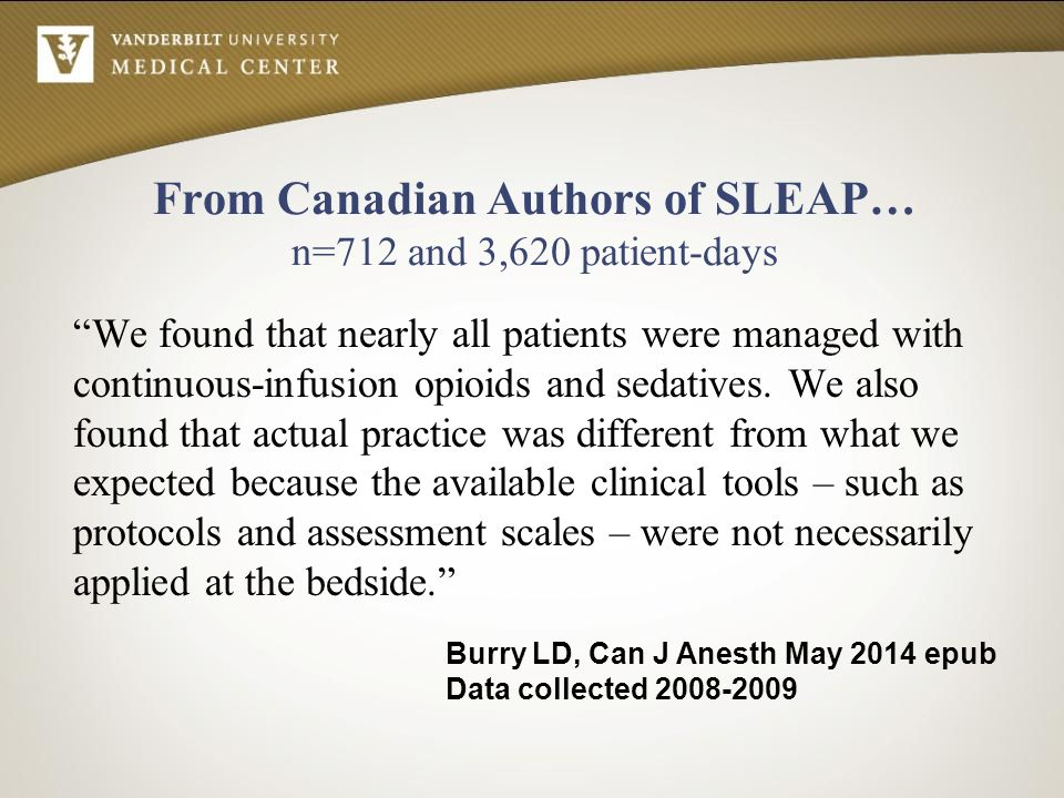 From Canadian Authors of SLEAP… n=712 and 3,620 patient-days