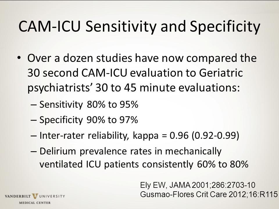 CAM-ICU Sensitivity and Specificity
