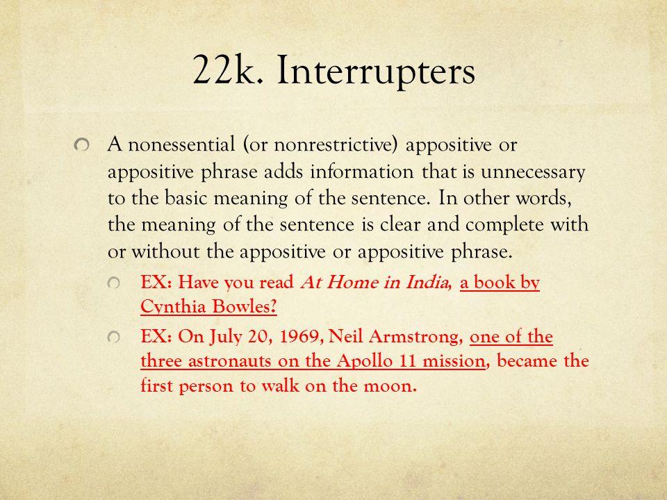22k. Interrupters