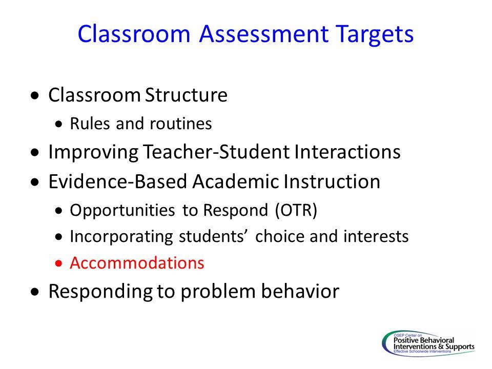 Classroom Assessment Targets