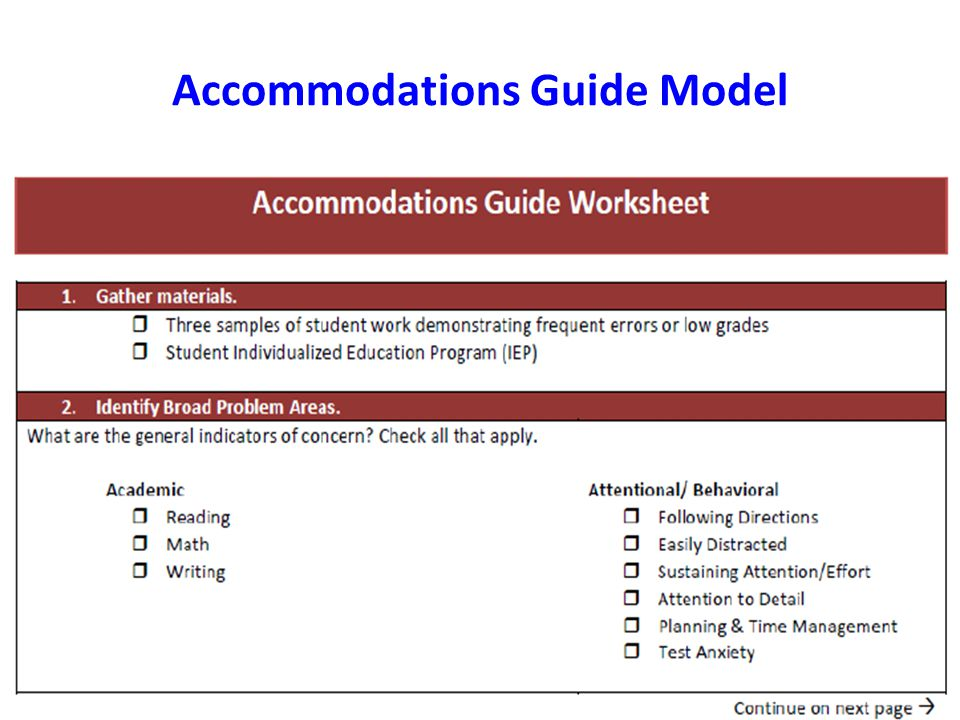 Accommodations Guide Model