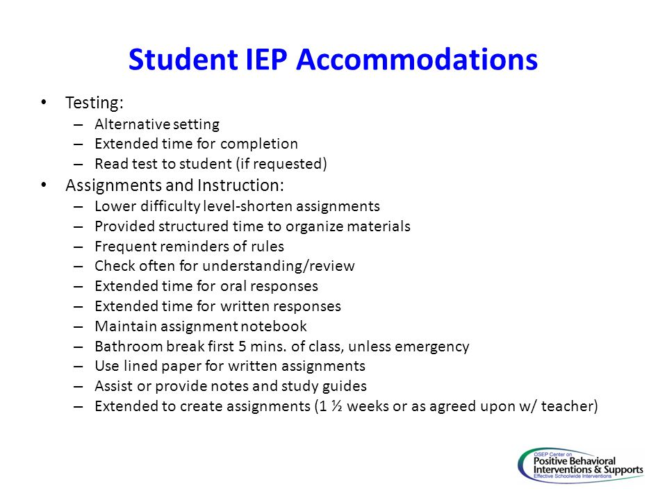 Student IEP Accommodations