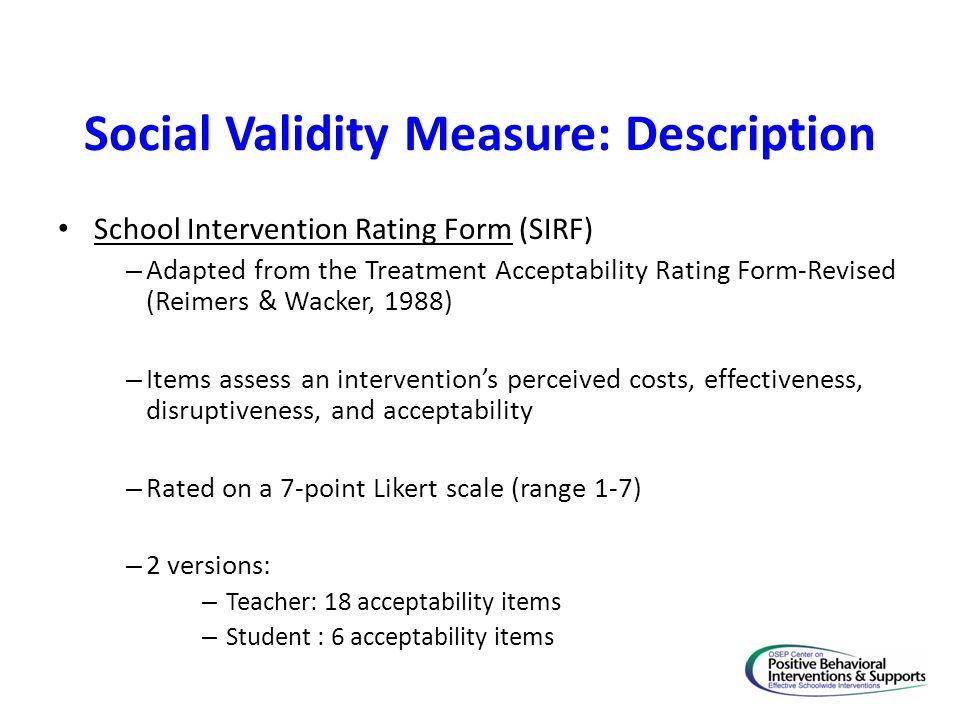 Social Validity Measure: Description