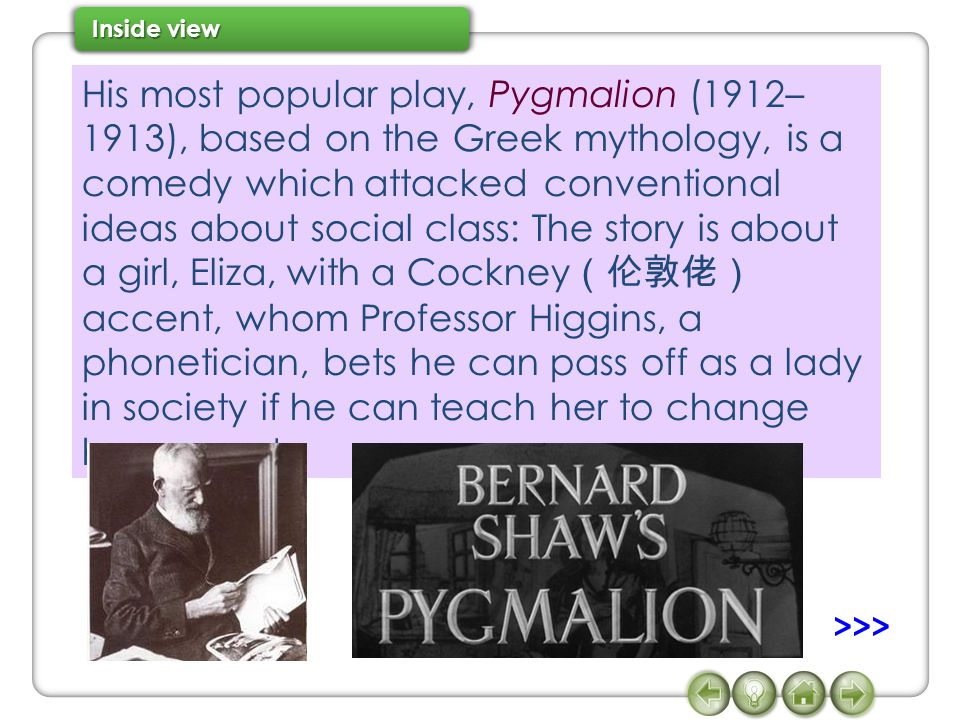 His most popular play, Pygmalion (1912–1913), based on the Greek mythology, is a comedy which attacked conventional ideas about social class: The story is about a girl, Eliza, with a Cockney(伦敦佬)accent, whom Professor Higgins, a phonetician, bets he can pass off as a lady in society if he can teach her to change her accent.