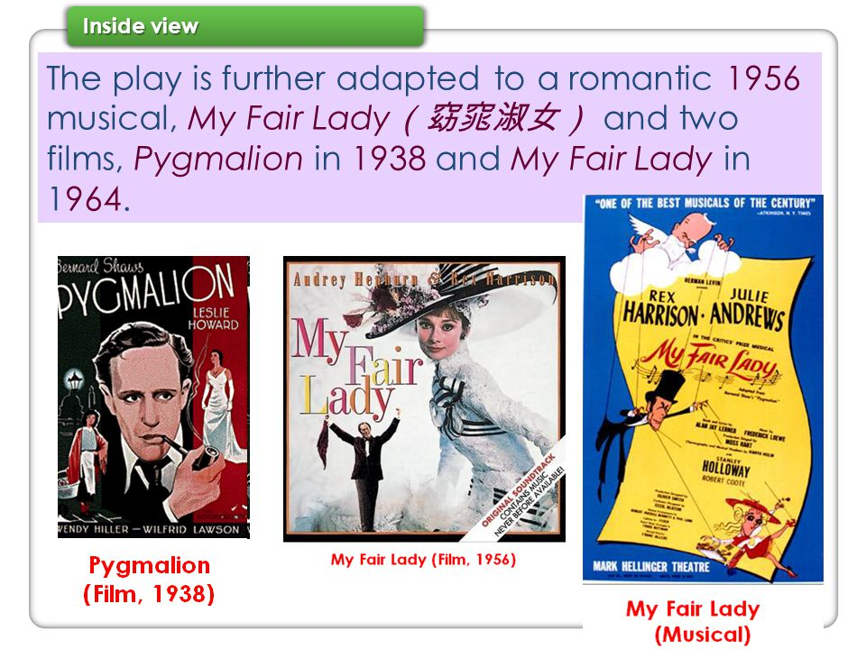 The play is further adapted to a romantic 1956 musical, My Fair Lady(窈窕淑女) and two films, Pygmalion in 1938 and My Fair Lady in 1964.