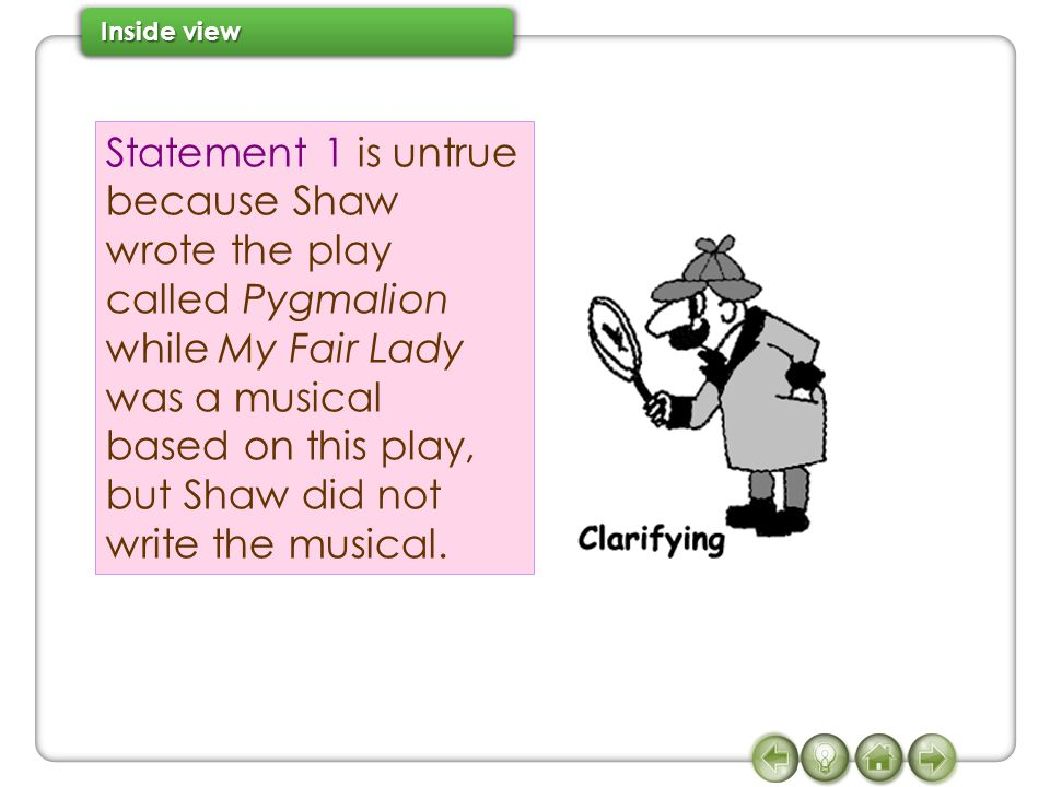 Statement 1 is untrue because Shaw wrote the play called Pygmalion while My Fair Lady was a musical